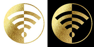 Wifi logo. In bright gold Royalty Free Stock Photo