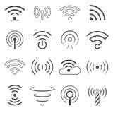 WiFi Logo Vector Elements El concepto de la tecnología inalámbrica firma adentro la línea estilo ilustración del vector