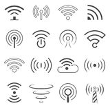 WiFi Logo Vector Elements. Wireless technology concept signs in line style Stock Image