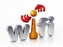 Wifi logo and wireless connection symbol. 3D illustration Royalty Free Stock Photo
