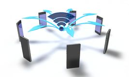 Wifi mobile phone connect of background, 3d render Stock Image