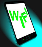 Wifi On Mobile Shows Internet Hotspot Wi-fi Access Or Connection Stock Photo