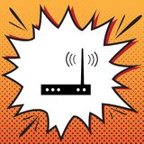 Wifi modem sign. Vector. Comics style icon on pop-art background.  Vector Illustration