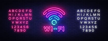 Wifi neon sign vector. Wifi symbol neon glowing letters shining, Light Banner, neon text. Vector illustration. Billboard. Editing text neon sign stock illustration