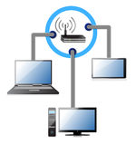 Wifi network concept. Illustration design over a white background Royalty Free Stock Photos