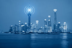 Wifi network connection in Shanghai center business district. Royalty Free Stock Image