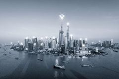Wifi network connection in Shanghai center business district. Royalty Free Stock Photos