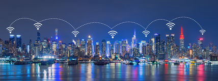 Wifi Network Internet and Connection technology concept of Skyli. Ne of New York City, Skyscrapers, downtown,USA royalty free stock image