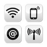 Wifi network, internet zone buttons set Stock Photography