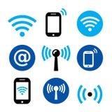 WiFi-Netz, drahtlose Internet-Zone, Smartphone mit WIFI-Ikonen eingestellt lizenzfreie abbildung