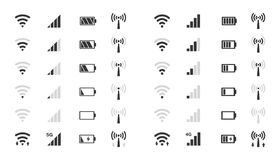 Wifi nivela ícones, indicador da força de sinal, carga da bateria ilustração royalty free