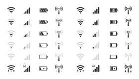 Wifi nivela los iconos, indicador de la fuerza de señal, carga de la batería libre illustration