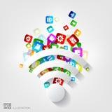 WiFi-Pictogram toepassingsknoop Sociale media en wolk gegevensverwerking royalty-vrije illustratie