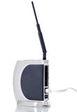 WIFI router. Powerful wireless router with cable on white background Royalty Free Stock Image
