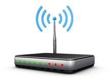 Wifi router. With antenna and signal blue Stock Images