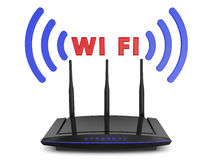 WiFi router. With blue signal indicators and volumetric inscription WIFI vector illustration
