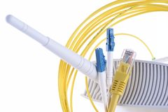 Wifi router and cable in computer network Stock Photo