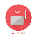 Wifi router flat style icon. Wireless technology, office equipment sign. Vector illustration of communication devices Stock Photos