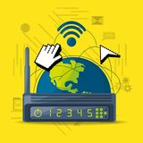 Wifi router icon related with internet around the world. Vector illustration Royalty Free Stock Photos