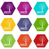 Wifi router icon set color hexahedron. Wifi router icon set many color hexahedron isolated on white vector illustration Stock Photos