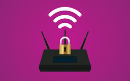 Wifi router security illustration with padlock and signal symbol Royalty Free Stock Images