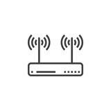 Wifi router, wireless dsl modem line icon, outline vector sign, Royalty Free Stock Photos
