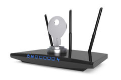 Wifi Security Concept. 3d Modern WiFi Router Royalty Free Stock Photo