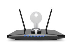 Wifi Security Concept. 3d Modern WiFi Router Royalty Free Stock Images