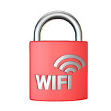 Wifi security padlock 3d render on white background Royalty Free Stock Photos