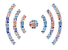 Wifi Sign. In word collage Royalty Free Stock Photo