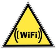 Wifi sign. Wifi zone warning sign - yellow triangular - illustration Stock Image