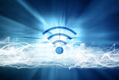 Wifi sign on abstract blurred background Stock Photography