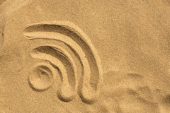WiFi sign on the beach Royalty Free Stock Images