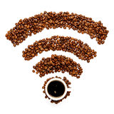 Wifi sign made of roasted coffee beans. Isolated in white background Royalty Free Stock Photography