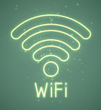 WiFi sign. Neon retro blue wifi sign. EPS10 Royalty Free Stock Images