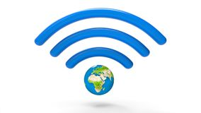 Wifi sign with planet earth. Internet concept. 3d illustration and rendering image Stock Images