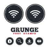Wifi sign. Wi-fi symbol. Wireless Network. Grunge post stamps. Wifi sign. Wi-fi symbol. Wireless Network icon. Wifi zone. Information, download and printer Stock Photography