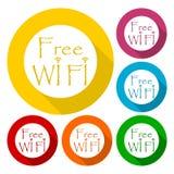 Wifi sign, Wi-fi symbol, Wireless Network icon, Wifi zone icons set with long shadow. Icon Stock Photos