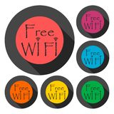 Wifi sign, Wi-fi symbol, Wireless Network icon, Wifi zone icons set with long shadow. Icon Stock Photography