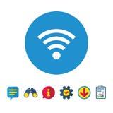 Wifi sign. Wi-fi symbol. Wireless Network. Wifi sign. Wi-fi symbol. Wireless Network icon. Wifi zone. Information, Report and Speech bubble signs. Binoculars Stock Image