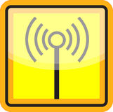 Wifi sign in yellow and black Royalty Free Stock Images