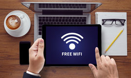 WIFI SIGNAL connectivity concept: Free wifi area sign Stock Photos