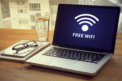 WIFI SIGNAL connectivity concept: Free wifi area sign Royalty Free Stock Photography