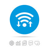 Wifi signal sign. Wi-fi upload, download symbol. Wireless Network icon. Internet zone. Copy files, chat speech bubble and chart web icons. Vector Royalty Free Stock Image
