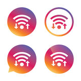 Wifi signal sign. Wi-fi upload, download symbol. Royalty Free Stock Photos