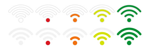 Wifi signal strength icons on a white background, flat style Royalty Free Stock Image