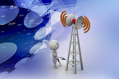 Wifi signal tower servicing. In color background Royalty Free Stock Image