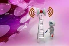 Wifi signal tower servicing. In color background Stock Images