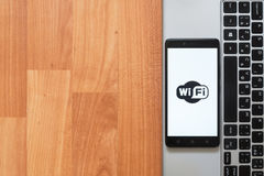 Wifi on smartphone screen Stock Images