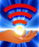 Wifi, sociale technologie, netwerk royalty-vrije illustratie